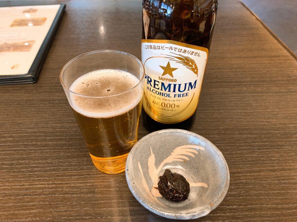 サッポロプレミアムアルコールフリービールと蕎麦味噌