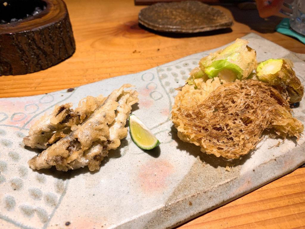 千寿竹やぶの稚鮎とヤングコーンの天ぷら