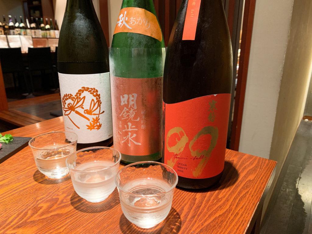 千葉の寒菊銘醸の寒菊と長野の大澤酒造の明鏡止水と神奈川の若波酒造の蜻蛉
