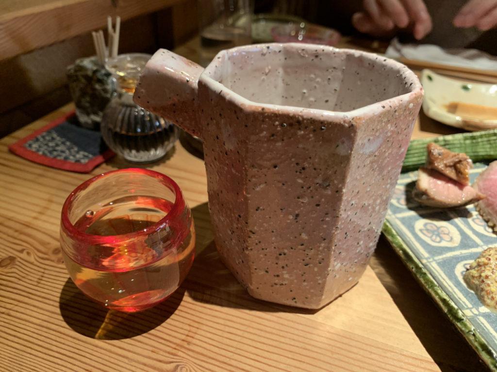 栃木の日本酒の四季桜の片口とお猪口