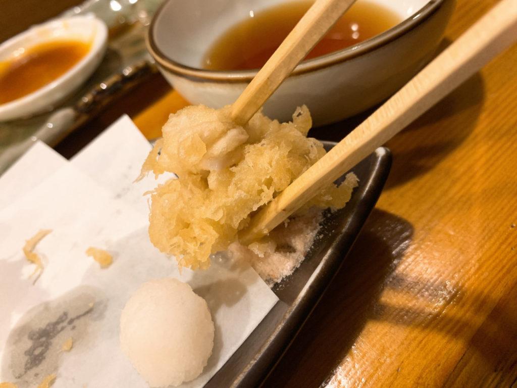 三鷹の蕎麦屋の三休の白子の天ぷら