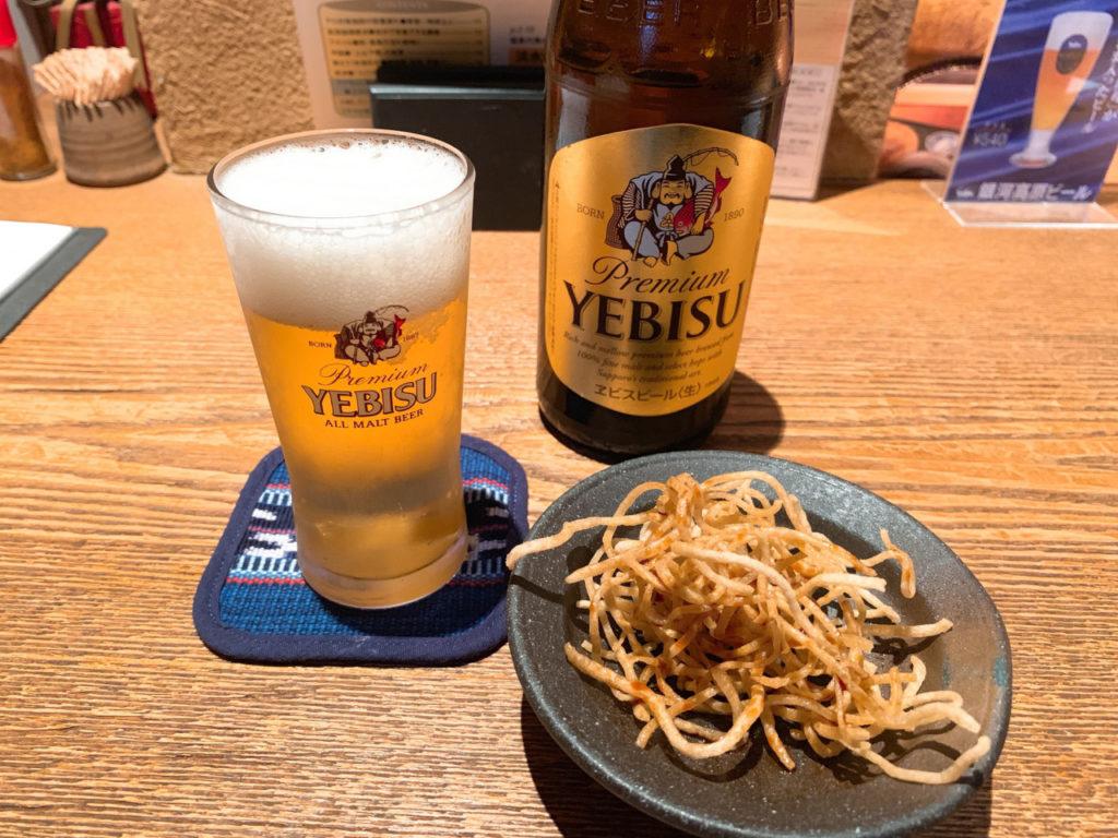 エビスビールと揚げ蕎麦