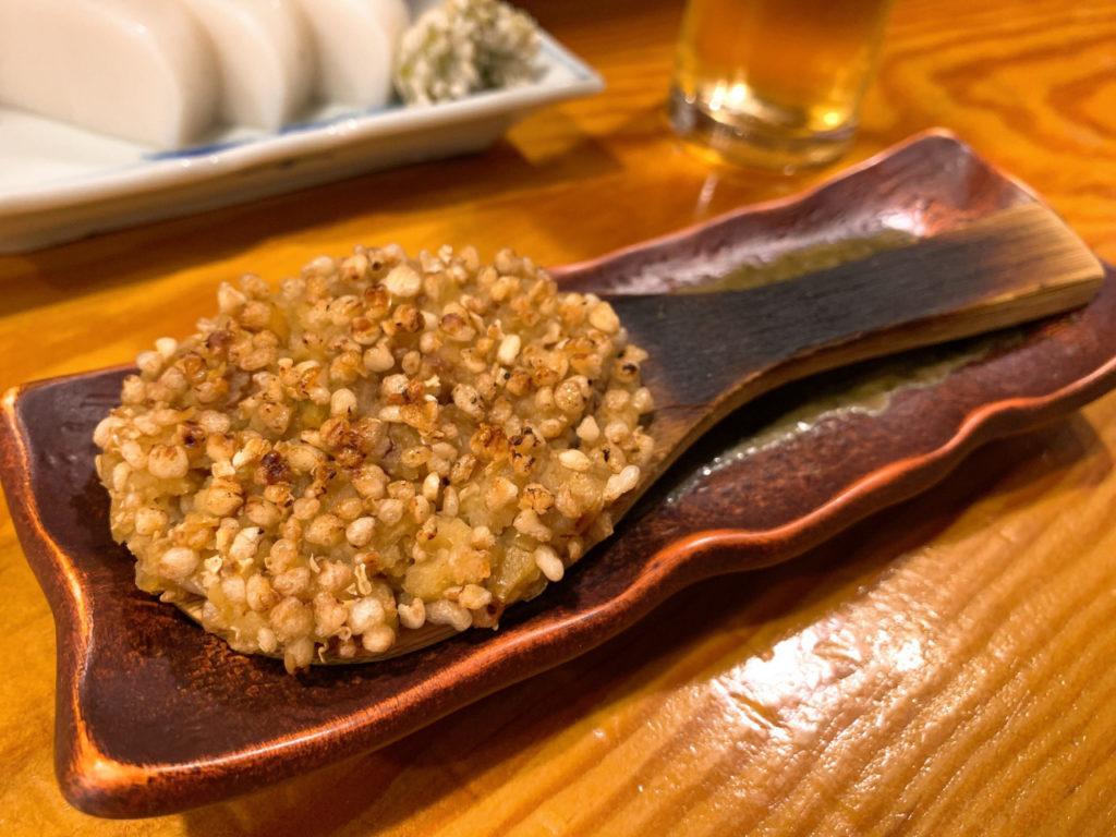 三鷹の蕎麦屋の三休の焼き味噌