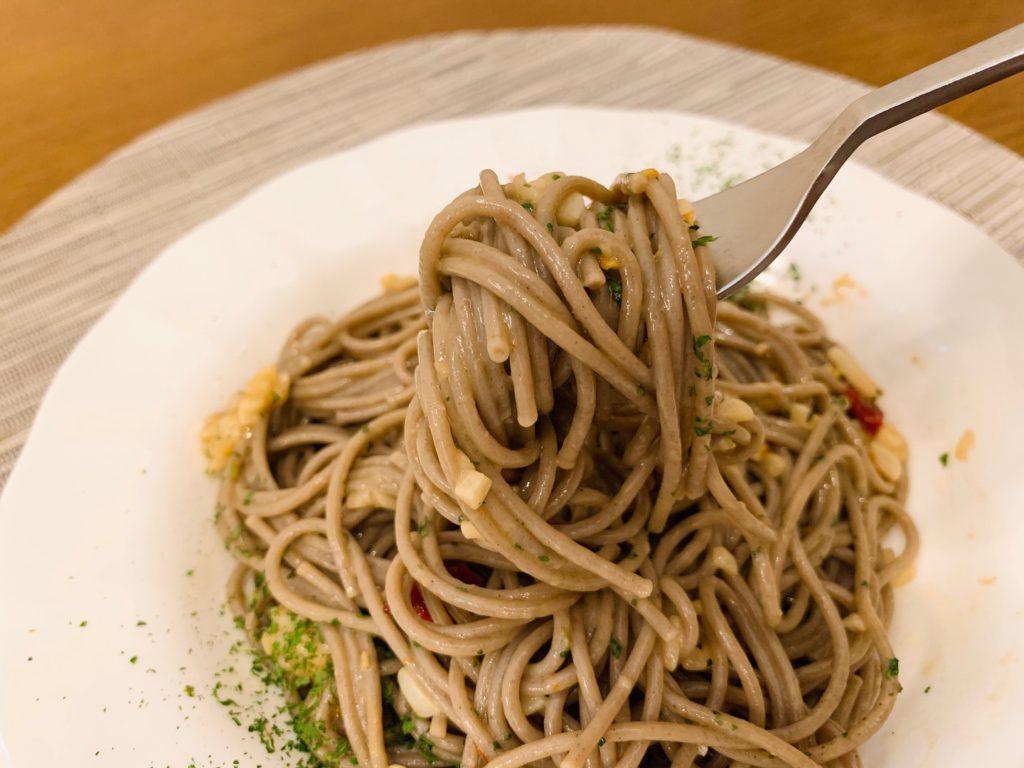 至高のペペロンチーノ そばパスタ レシピ